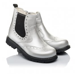 Детские демисезонные ботинки Woopy Orthopedic серебряные для девочек натуральная кожа размер 26-37 (3903) Фото 1