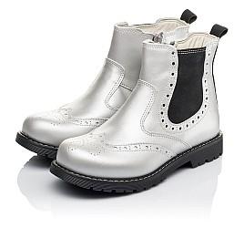 Детские демисезонные ботинки Woopy Orthopedic серебряные для девочек натуральная кожа размер 26-38 (3903) Фото 3