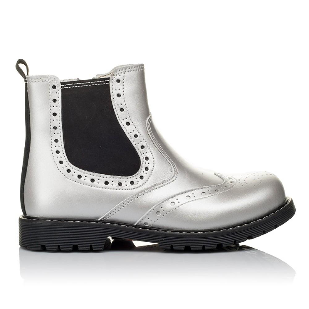 Детские демисезонные ботинки Woopy Orthopedic серебряные для девочек натуральная кожа размер 26-38 (3903) Фото 4