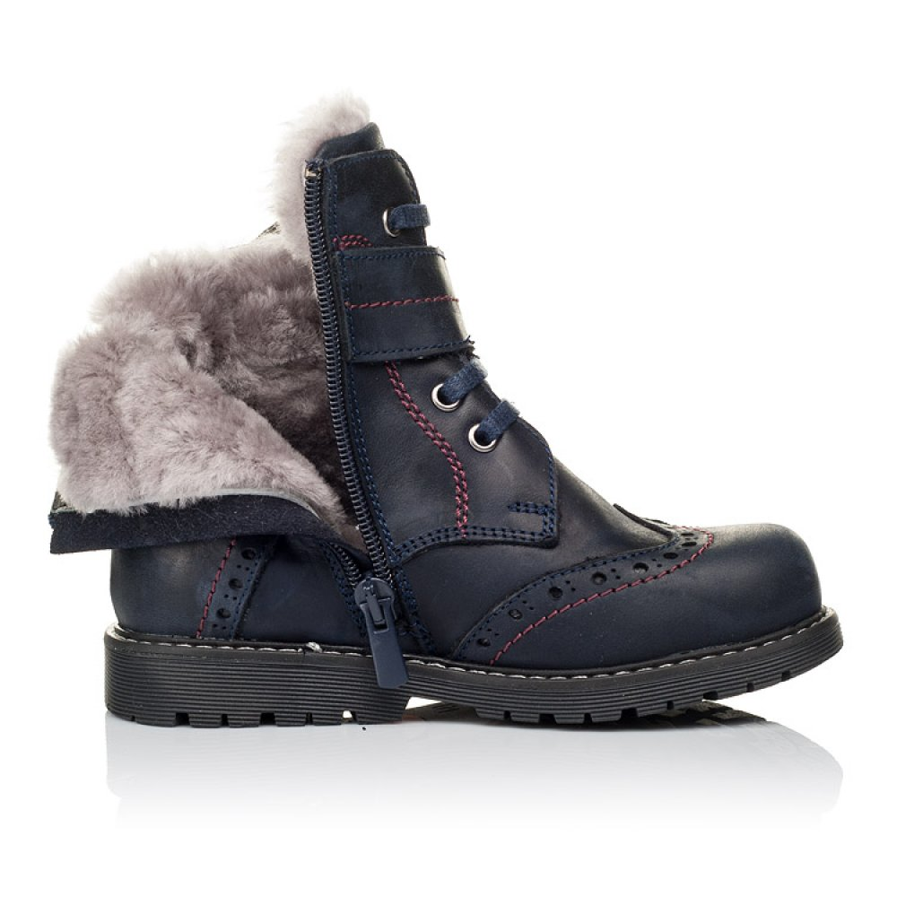 Детские зимние ботинки на меху Woopy Orthopedic синие для мальчиков натуральная кожа размер 25-36 (3904) Фото 5