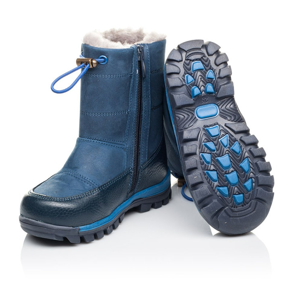 Детские зимние сапожкики на меху Woopy Orthopedic синие для мальчиков натуральный нубук размер 21-30 (3914) Фото 2