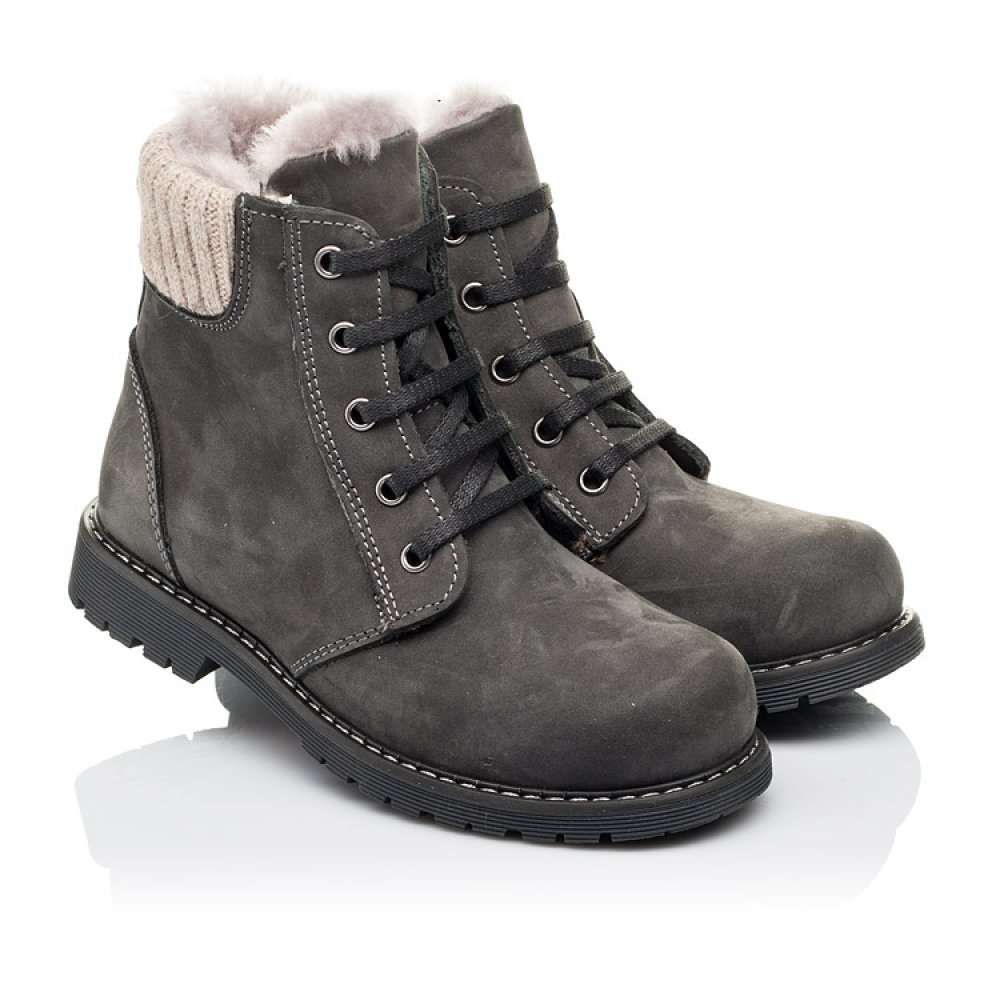 Детские зимние ботинки на меху Woopy Orthopedic серые для мальчиков натуральный нубук размер 29-37 (3915) Фото 1