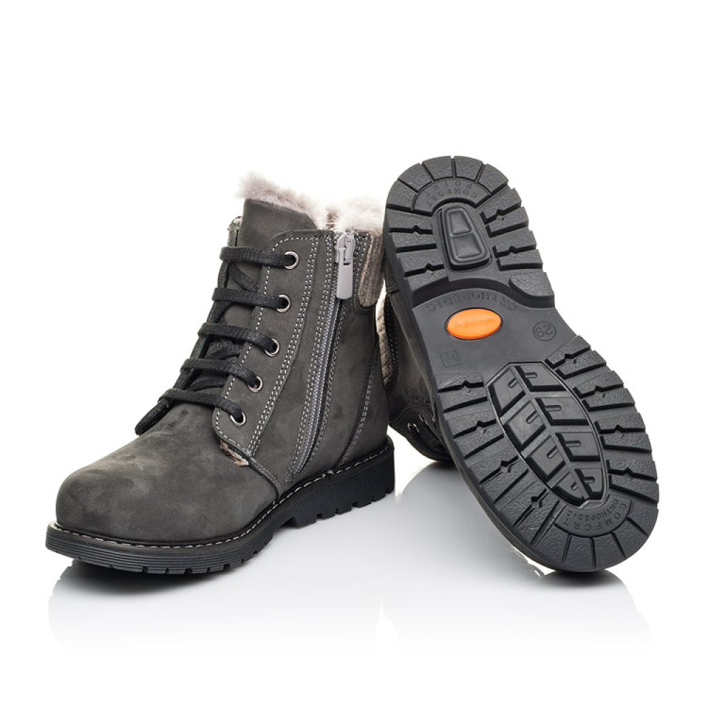 Детские зимние ботинки на меху Woopy Orthopedic серые для мальчиков натуральный нубук размер 29-37 (3915) Фото 2