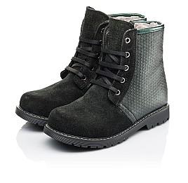 Детские зимние ботинки на меху Woopy Orthopedic черные для девочек  натуральная кожа, замш размер 25-33 (3920) Фото 3
