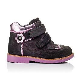 Детские демисезонные ботинки Woopy Orthopedic фиолетовые для девочек натуральный замш размер 18-28 (3921) Фото 4