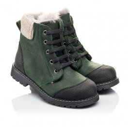 Детские зимние ботинки на меху Woopy Orthopedic зеленые для девочек натуральная кожа размер 26-31 (3923) Фото 1