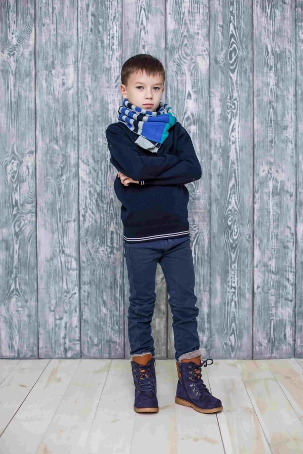 Мальчик обут в детские зимние ботинки на меху Woopy Orthopedic синие (3925) Фото 1