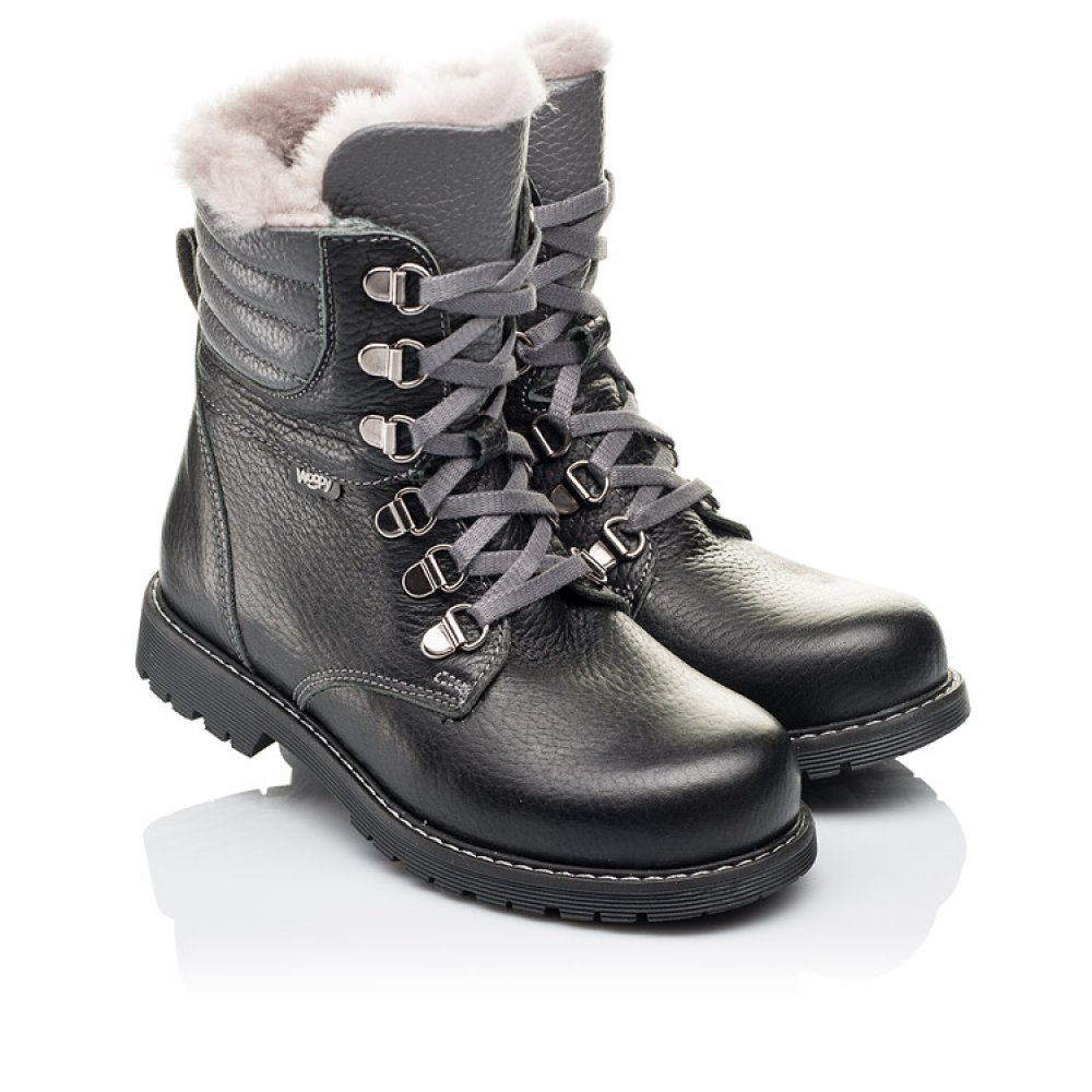 Детские зимние ботинки на меху Woopy Orthopedic черные для мальчиков натуральная кожа размер 26-36 (3928) Фото 1