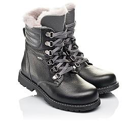 Детские зимние ботинки на меху Woopy Orthopedic черные для мальчиков  натуральная кожа размер 26-31 (3928) Фото 1