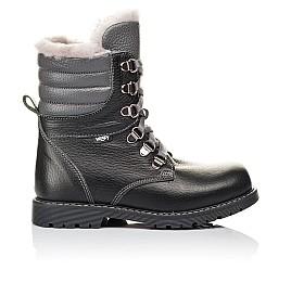 Детские зимние ботинки на меху Woopy Orthopedic черные для мальчиков  натуральная кожа размер 26-31 (3928) Фото 4