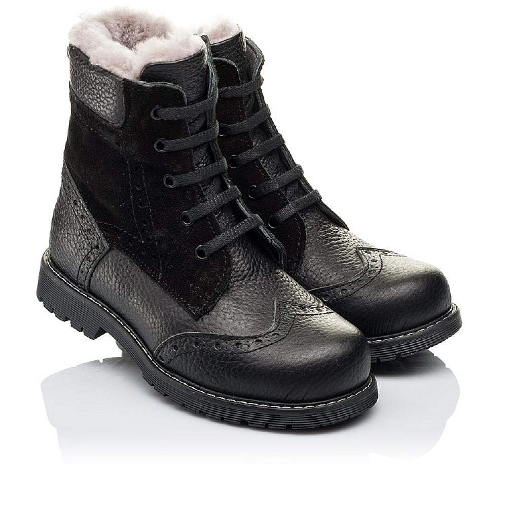 Детские зимние ботинки на меху Woopy Orthopedic черные для девочек натуральная кожа, замша размер 25-37 (3929) Фото 1