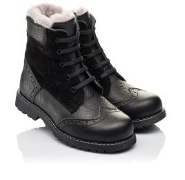 Детские зимние ботинки на меху Woopy Orthopedic черные для девочек  натуральная кожа, замша размер 26-36 (3929) Фото 1