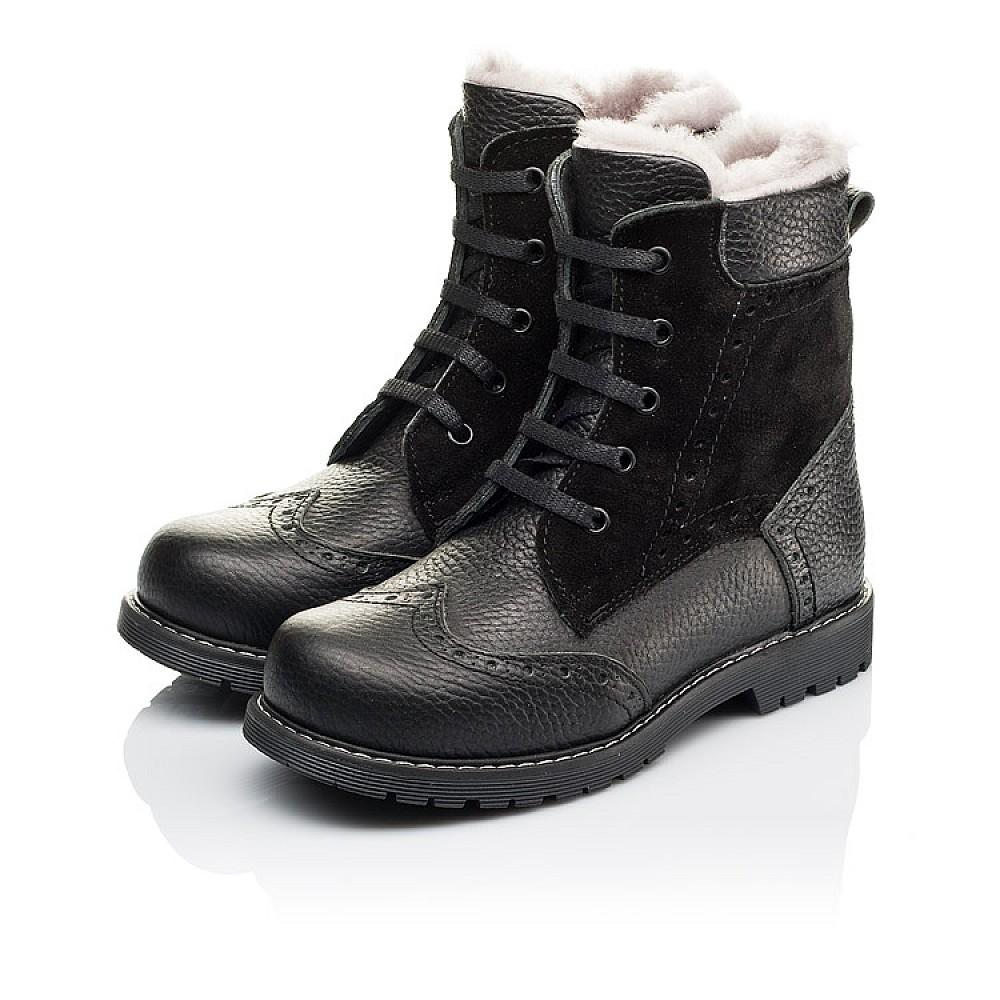 Детские зимние ботинки на меху Woopy Orthopedic черные для девочек натуральная кожа, замша размер 25-37 (3929) Фото 3
