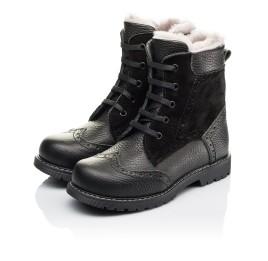 Детские зимние ботинки на меху Woopy Orthopedic черные для девочек  натуральная кожа, замша размер 26-36 (3929) Фото 3