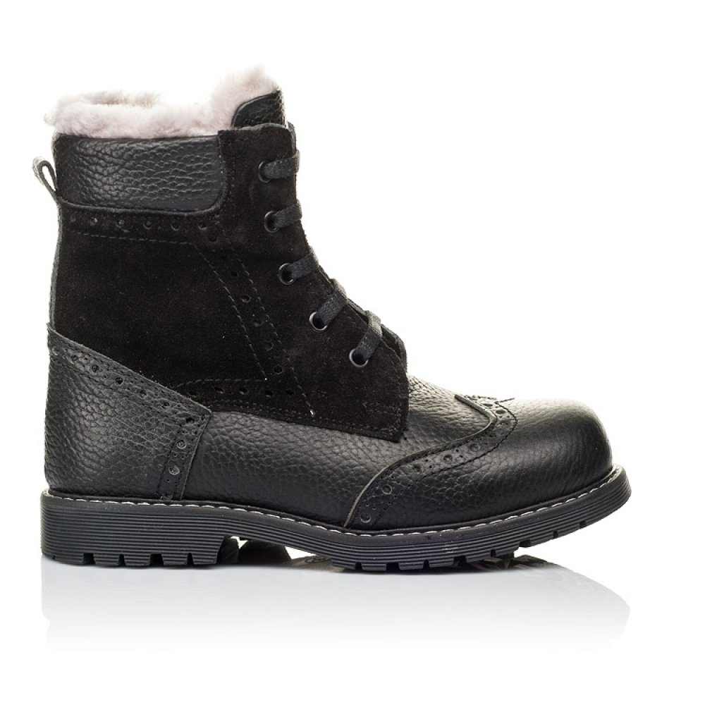 Детские зимние ботинки на меху Woopy Orthopedic черные для девочек натуральная кожа, замша размер 25-37 (3929) Фото 4