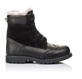 Детские зимние ботинки на меху Woopy Orthopedic черные для девочек  натуральная кожа, замша размер 26-36 (3929) Фото 4