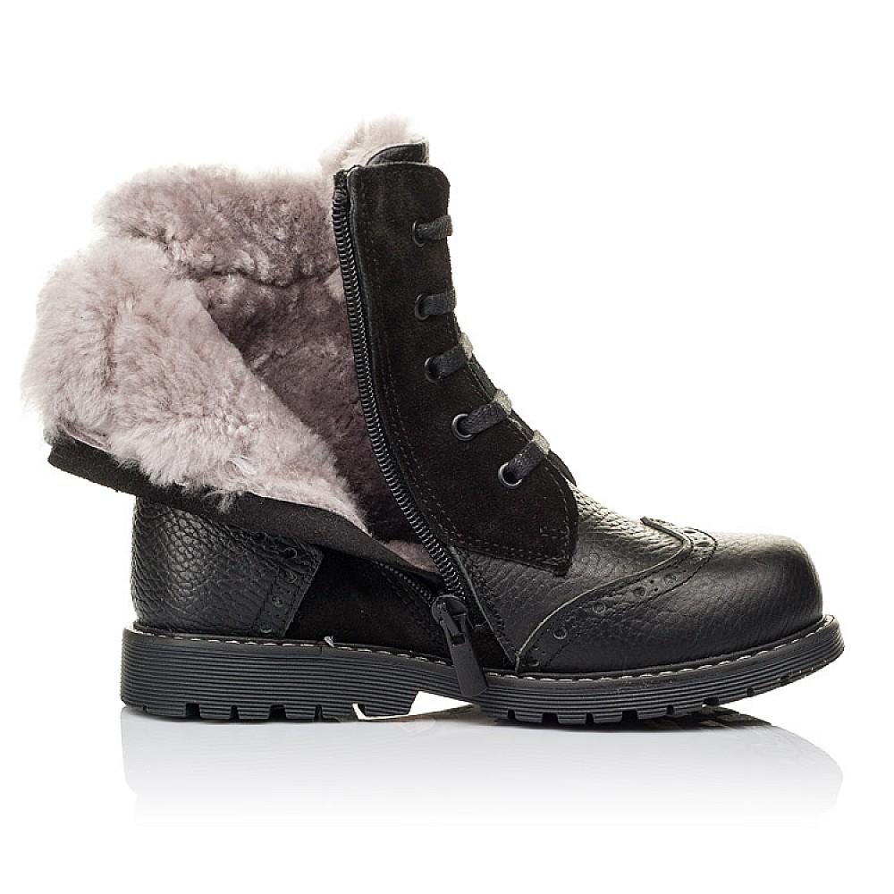 Детские зимние ботинки на меху Woopy Orthopedic черные для девочек натуральная кожа, замша размер 25-37 (3929) Фото 5