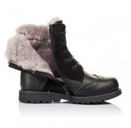 Детские зимние ботинки на меху Woopy Orthopedic черные для девочек  натуральная кожа, замша размер 26-36 (3929) Фото 5