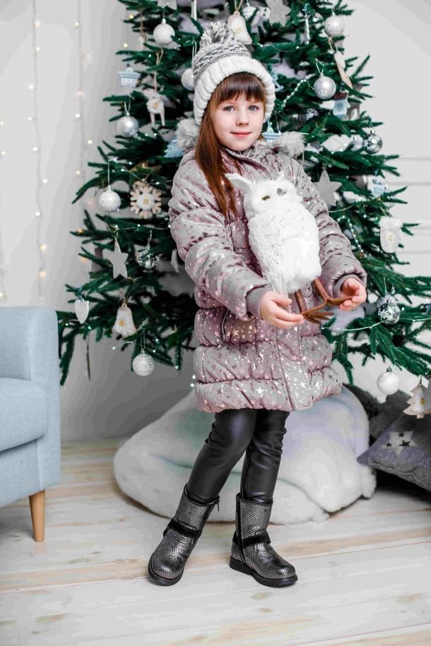 Девочка обута в детские зимние сапожки на меху Woopy Orthopedic серебряные (3930) Фото 1