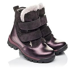 Детские зимние ботинки на меху Woopy Orthopedic фиолетовые для девочек  натуральная кожа и нубук размер 24-33 (3931) Фото 1