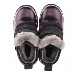 Детские зимние ботинки на меху Woopy Orthopedic фиолетовые для девочек  натуральная кожа и нубук размер 24-33 (3931) Фото 2