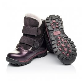 Детские зимние ботинки на меху Woopy Orthopedic фиолетовые для девочек  натуральная кожа и нубук размер 24-33 (3931) Фото 3