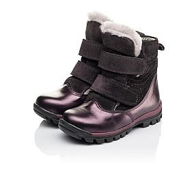 Детские зимние ботинки на меху Woopy Orthopedic фиолетовые для девочек  натуральная кожа и нубук размер 24-28 (3931) Фото 4
