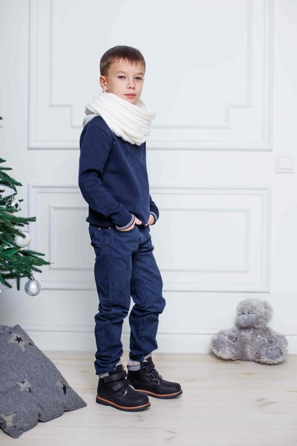 Мальчик обут в детские зимние ботинки на меху Woopy Orthopedic черные (3936) Фото 1