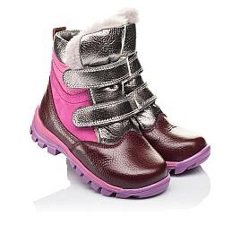 Детские зимние ботинки на меху Woopy Orthopedic бордовые для девочек  натуральная кожа и нубук размер 21-29 (3942) Фото 1