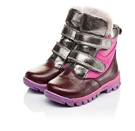 Детские зимние ботинки на меху Woopy Orthopedic бордовые для девочек  натуральная кожа и нубук размер 21-29 (3942) Фото 3
