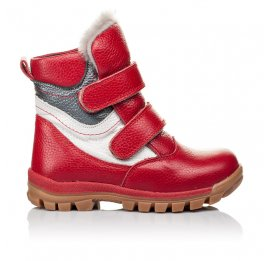Детские зимние ботинки на меху Woopy Orthopedic красные для девочек  натуральная кожа размер 21-28 (3943) Фото 4