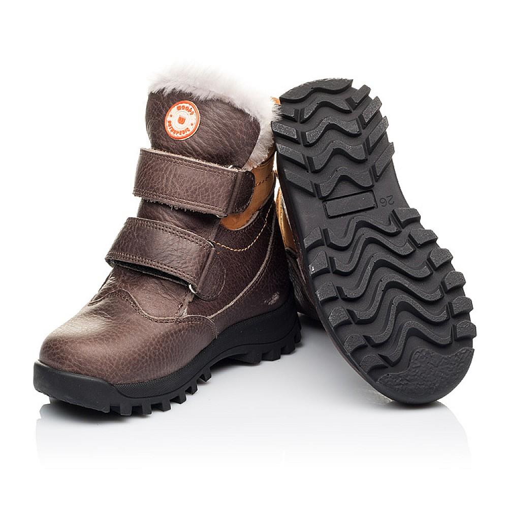 Детские зимние ботинки на меху Woopy Orthopedic коричневые для мальчиков натуральная кожа размер 21-30 (3944) Фото 2