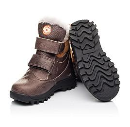 Детские зимові черевики на хутрі Woopy Orthopedic коричневые для мальчиков  натуральная кожа размер 21-26 (3944) Фото 2