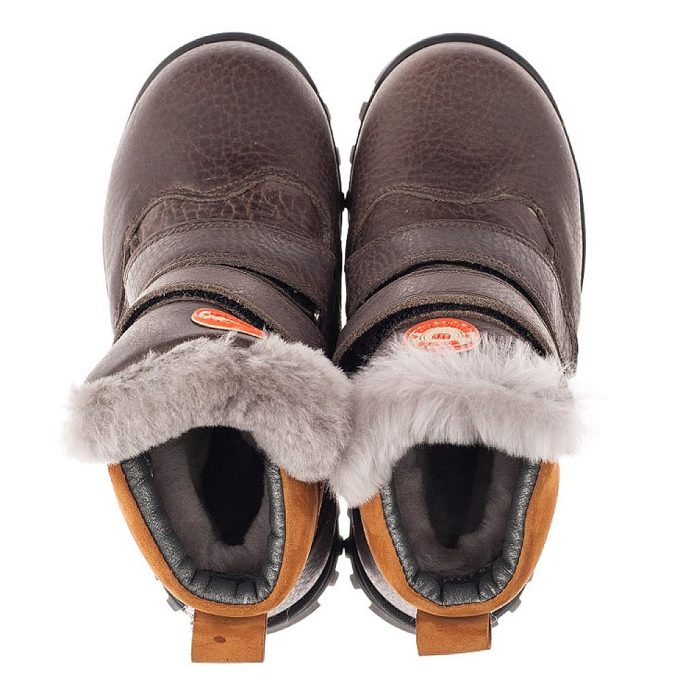 Детские зимние ботинки на меху Woopy Orthopedic коричневые для мальчиков натуральная кожа размер 21-30 (3944) Фото 5