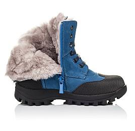 Детские зимние ботинки на меху Woopy Orthopedic голубые для мальчиков натуральный нубук размер 26-31 (3945) Фото 5