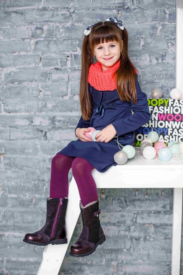 Девочка обута в детские зимние сапожки на меху Woopy Orthopedic фиолетовые (3946) Фото 1