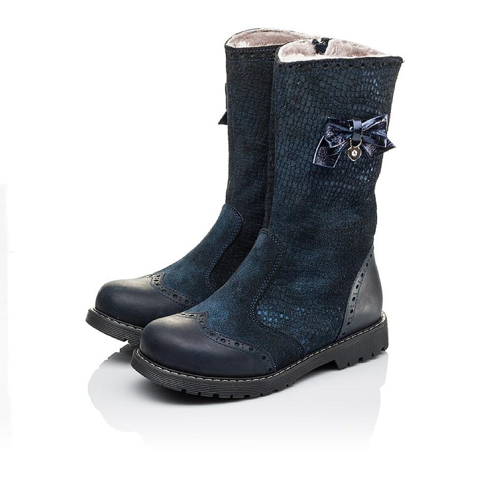 Детские зимние сапожки на меху Woopy Orthopedic синие для девочек натуральная кожа и нубук размер 30-37 (3947) Фото 3