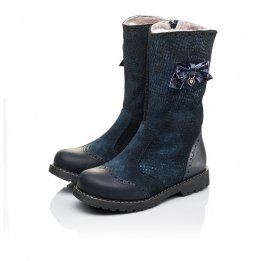 Детские зимові чобітки на хутрі Woopy Orthopedic синие для девочек  натуральная кожа и нубук размер 30-31 (3947) Фото 3