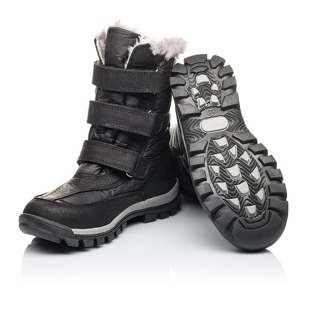 Детские зимние ботинки на меху Woopy Orthopedic черные для мальчиков нубук OIL, водонепроницаемая плащевка размер 21-36 (3951) Фото 2