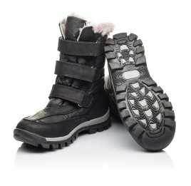 Детские зимние ботинки на меху Woopy Orthopedic черные для мальчиков нубук OIL, водонепроницаемая плащевка размер 21-22 (3951) Фото 2