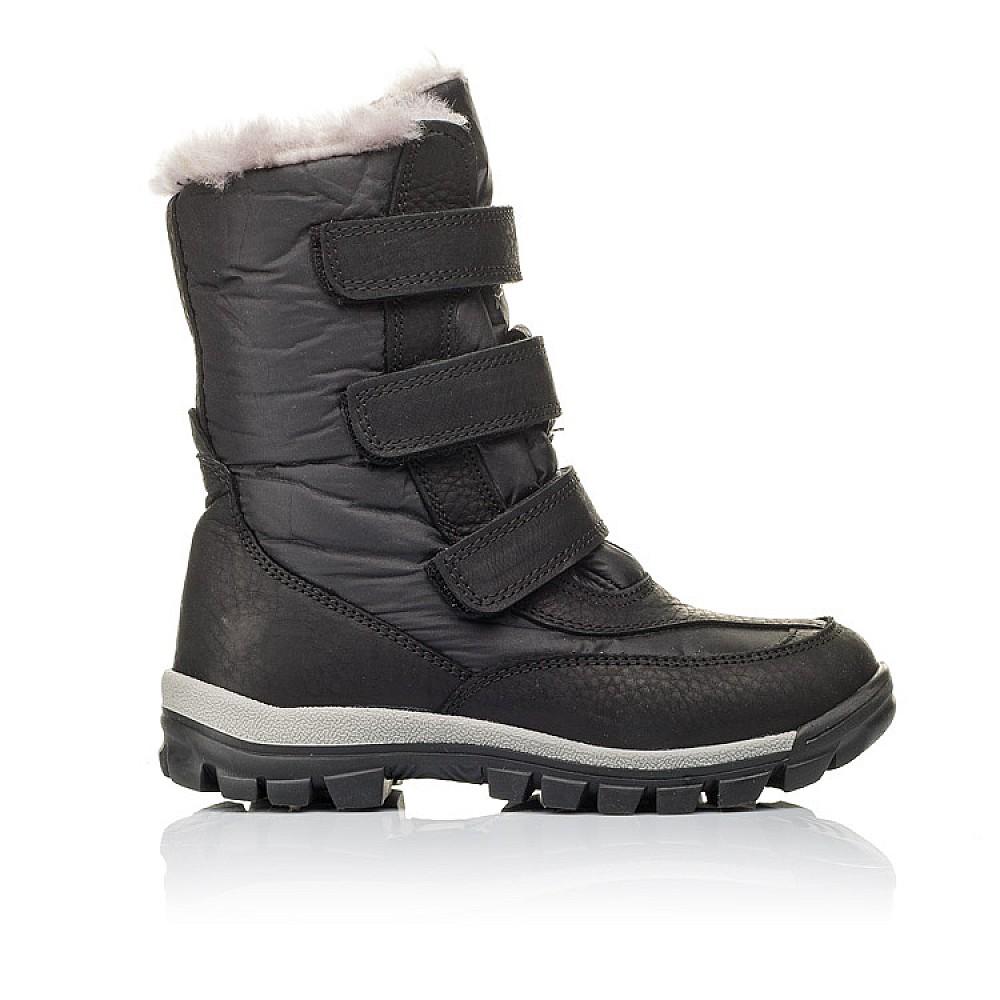 Детские зимние ботинки на меху Woopy Orthopedic черные для мальчиков нубук OIL, водонепроницаемая плащевка размер 21-36 (3951) Фото 4
