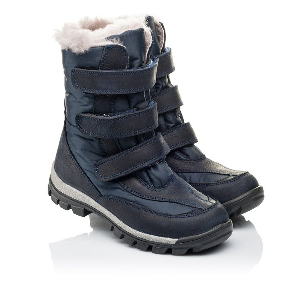 Детские зимние ботинки на меху Woopy Orthopedic синие для мальчиков нубук OIL, водонепроницаемая плащевка размер 21-36 (3952) Фото 1