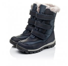 Детские зимові черевики на хутрі Woopy Orthopedic синие для мальчиков нубук OIL, водонепроницаемая плащевка размер 21-22 (3952) Фото 3