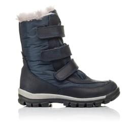 Детские зимові черевики на хутрі Woopy Orthopedic синие для мальчиков нубук OIL, водонепроницаемая плащевка размер 21-22 (3952) Фото 4
