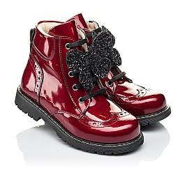 Детские демисезонные ботинки Woopy Orthopedic красные для девочек  натуральная лаковая кожа размер 22-31 (4001) Фото 1