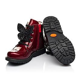 Детские демисезонные ботинки Woopy Orthopedic красные для девочек  натуральная лаковая кожа размер 22-36 (4001) Фото 2