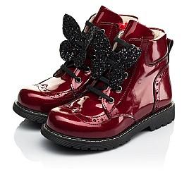 Детские демисезонные ботинки Woopy Orthopedic красные для девочек  натуральная лаковая кожа размер 22-31 (4001) Фото 3