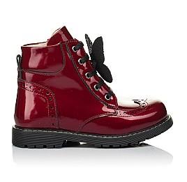 Детские демисезонные ботинки Woopy Orthopedic красные для девочек  натуральная лаковая кожа размер 22-36 (4001) Фото 4