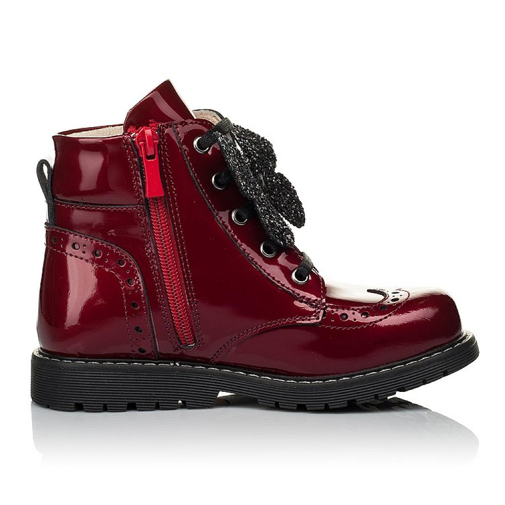 Детские демисезонные ботинки Woopy Orthopedic красные для девочек натуральная лаковая кожа размер 22-36 (4001) Фото 5