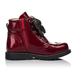 Детские демисезонные ботинки Woopy Orthopedic красные для девочек  натуральная лаковая кожа размер 22-31 (4001) Фото 5